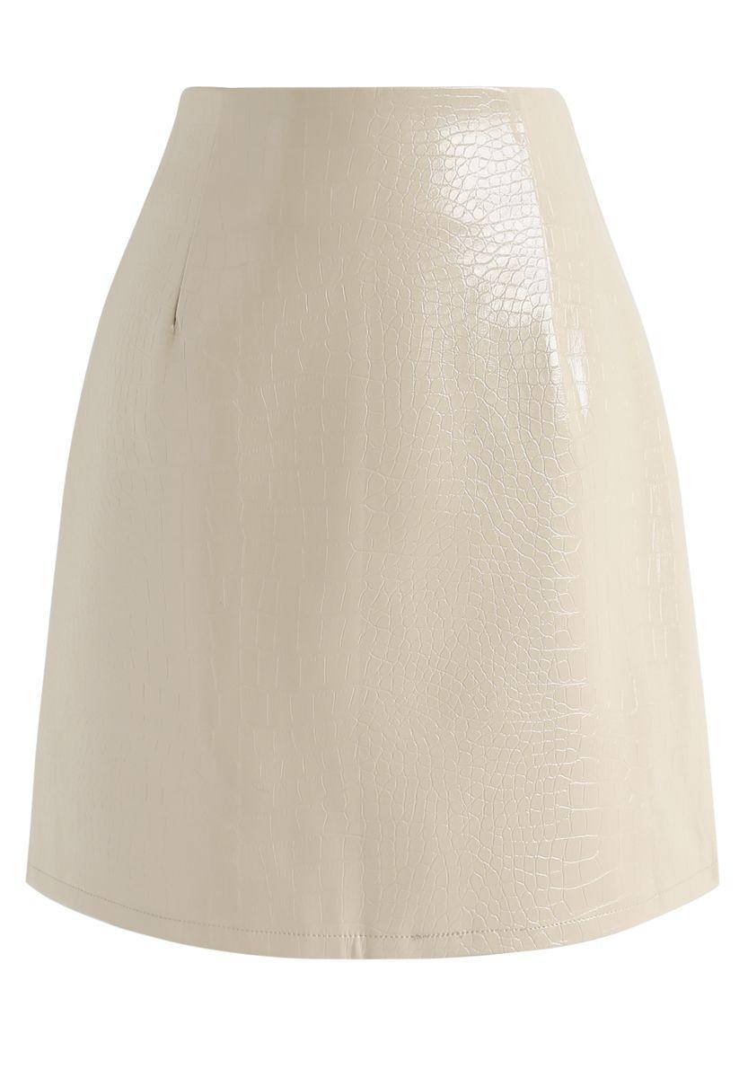 Cream Crocodile Faux Leather Mini Skirt