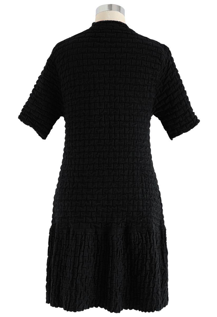 Embossed Frill Hem Knit Dress in Black