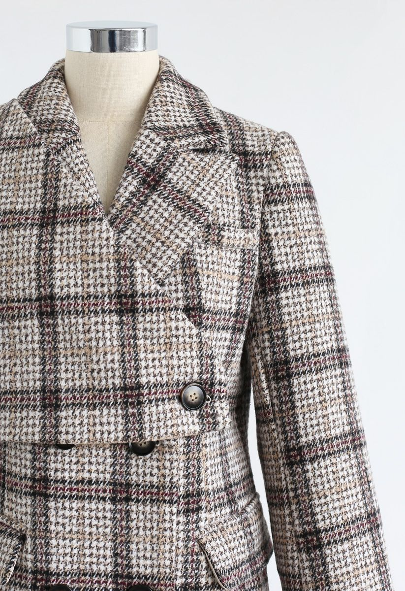 Plaid Double-Breasted Longline Coat
