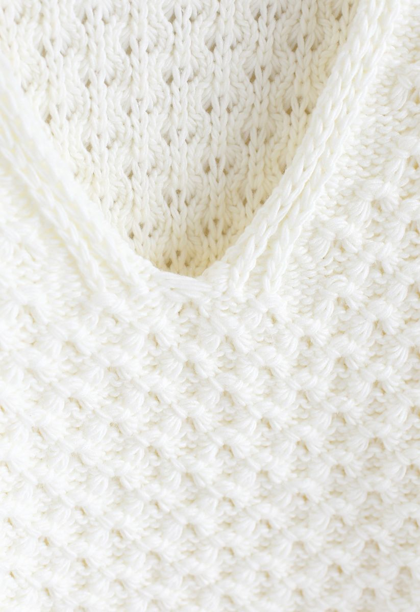 Hollow Out V-Neck Oversized Knit Sweater in White