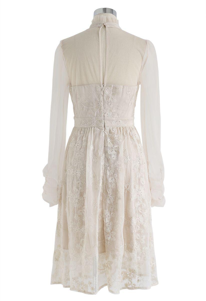 Creamy Floral Embroidered Mesh Midi Dress