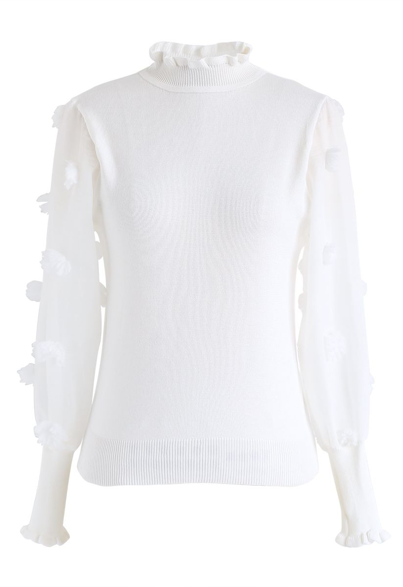 Cotton Candy Sheer Sleeves Knit Top in White