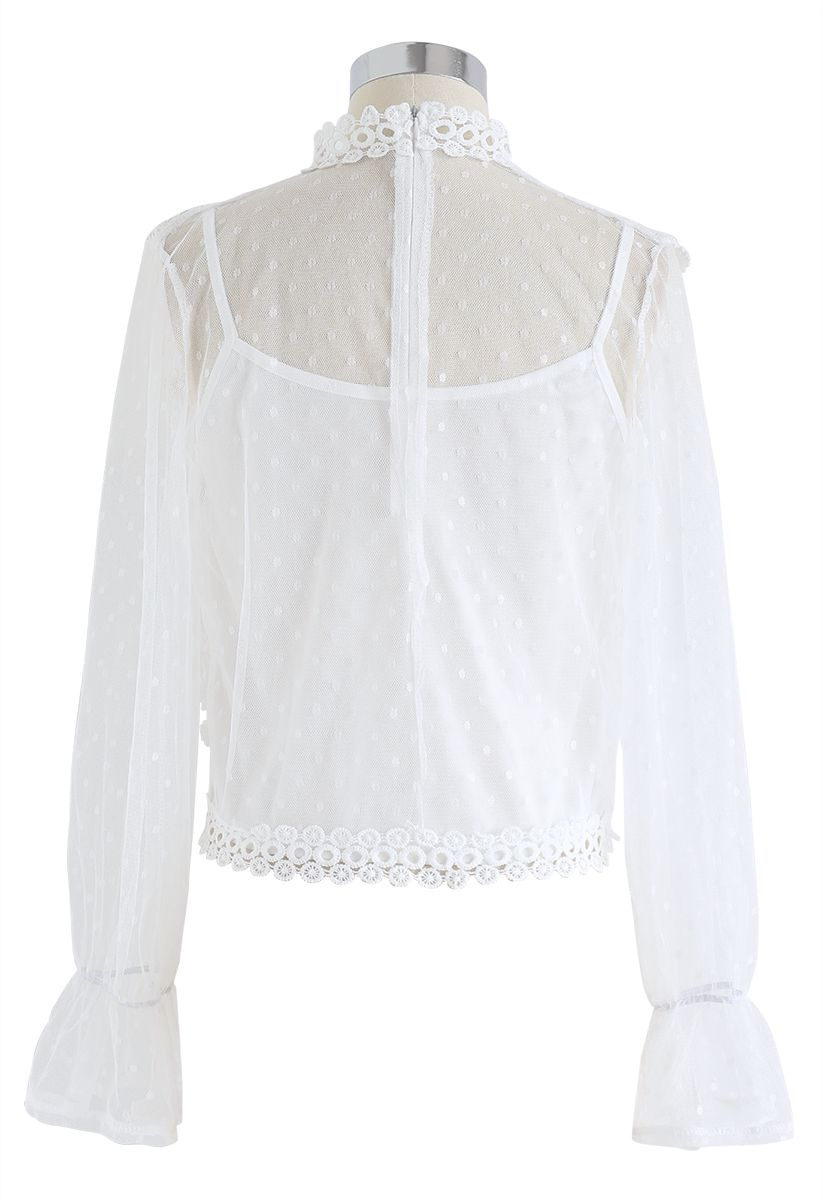 Floral Crochet Mesh Top in White
