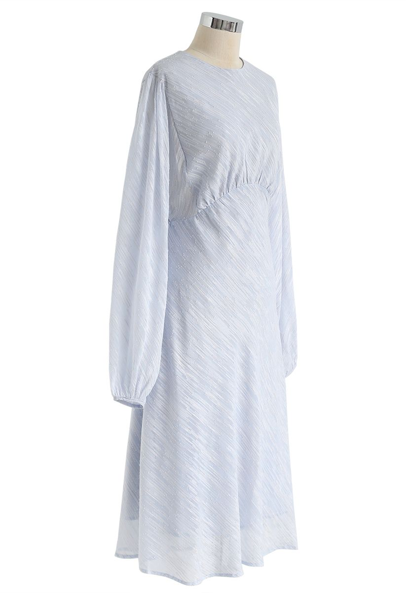 Slanted Lines Puff Sleeves Midi Dress in Icy Blue