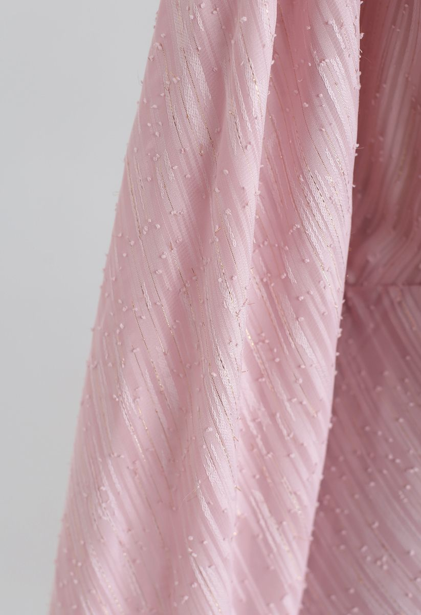 Slanted Lines Puff Sleeves Midi Dress in Pink