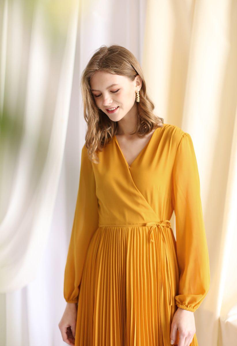 Mustard V-Neck Wrap Pleated Chiffon Dress