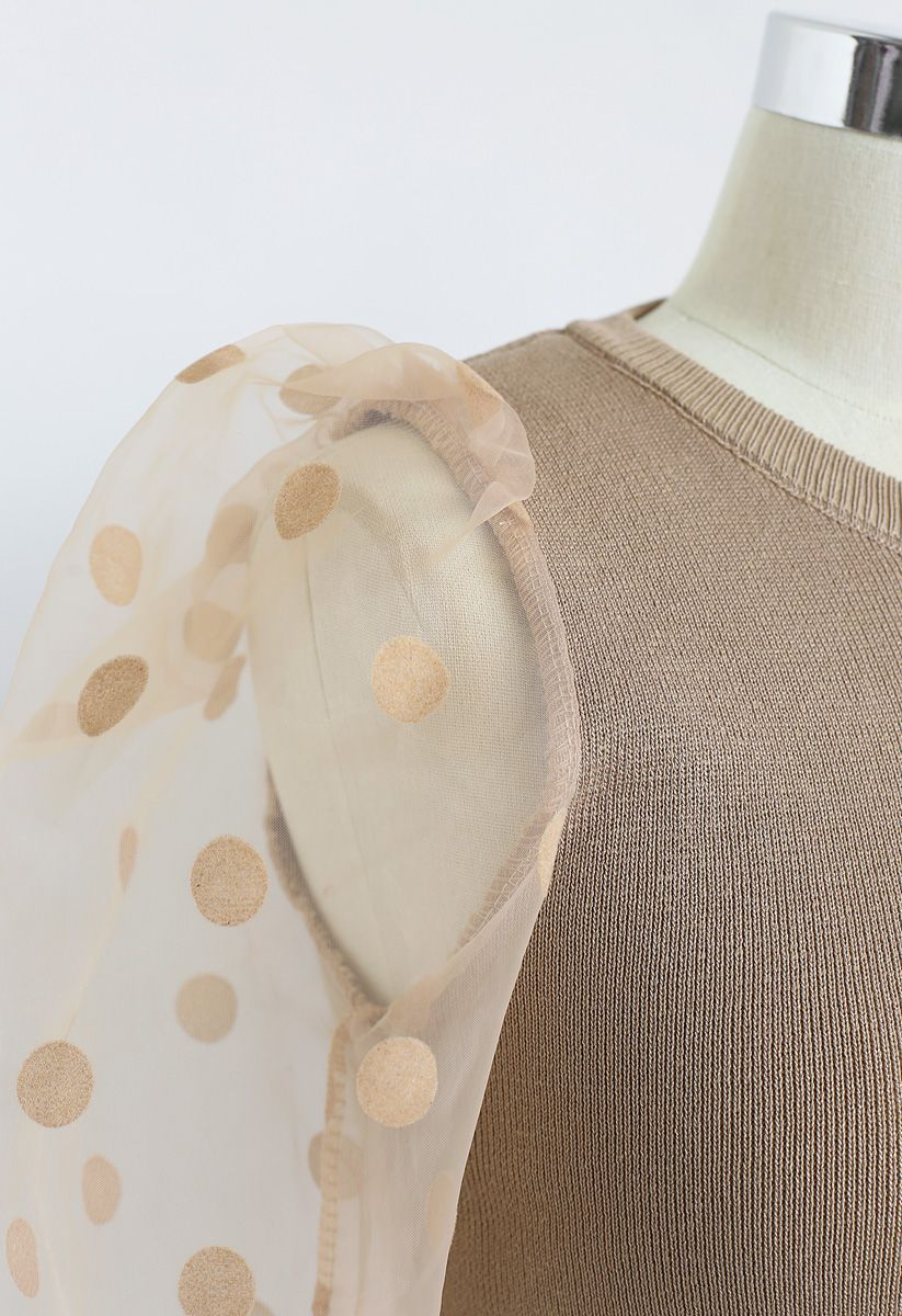 Polka Dots Mesh Sleeves Knit Top in Tan
