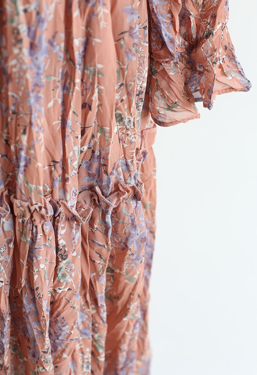 Spring Floret Ruffle Chiffon Dress in Coral
