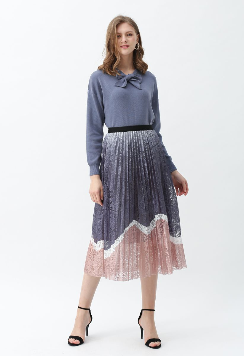 Bow Neck Sleeves Knit Top in Dusty Blue