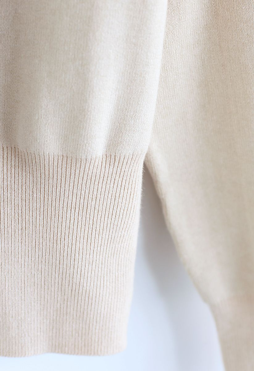 Button Down Bowknot Knit Sweater in Cream