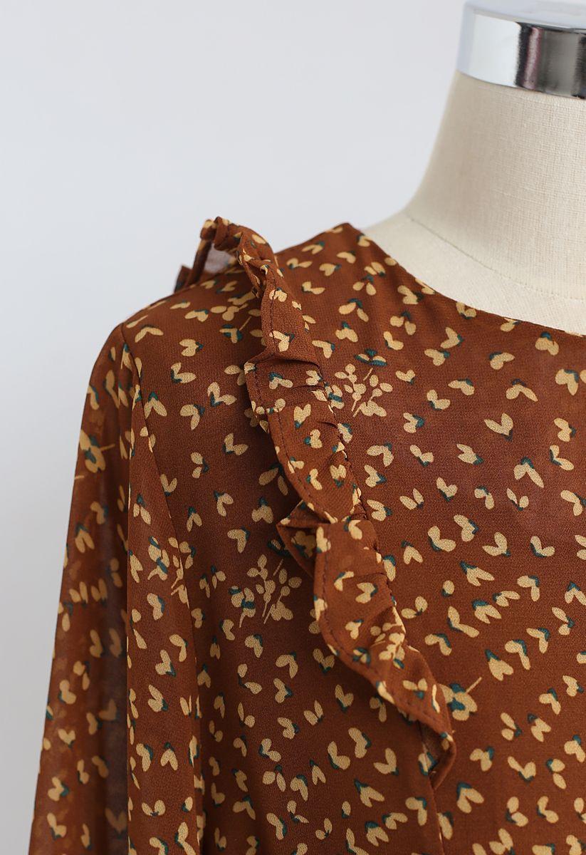 Floret Drawstring Ruffle Chiffon Dress in Caramel