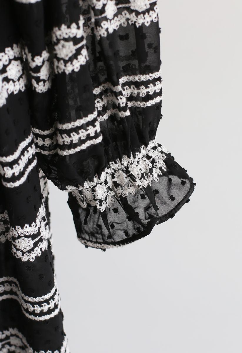 Flock Dots Batwing Sleeves Sheer Dress in Black