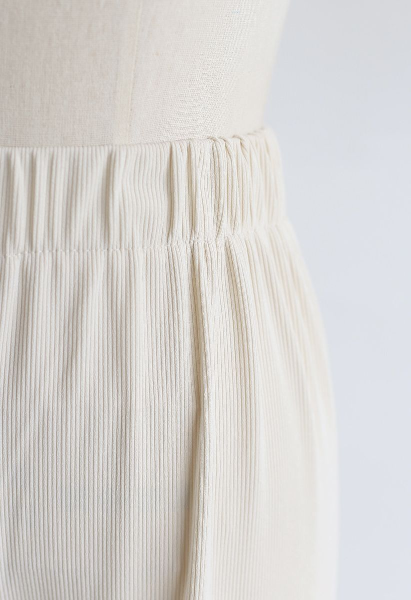 High-Waisted Ribbed Pants in Cream