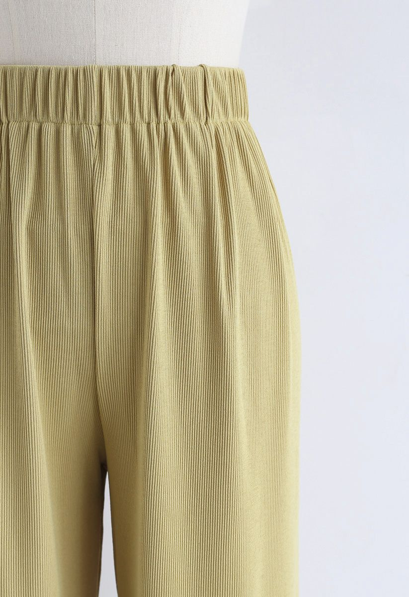 High-Waisted Ribbed Pants in Mustard