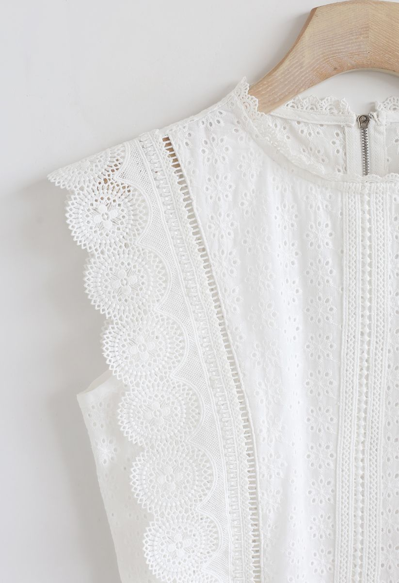 Zipper Crochet Eyelet Sleeveless Cropped Top