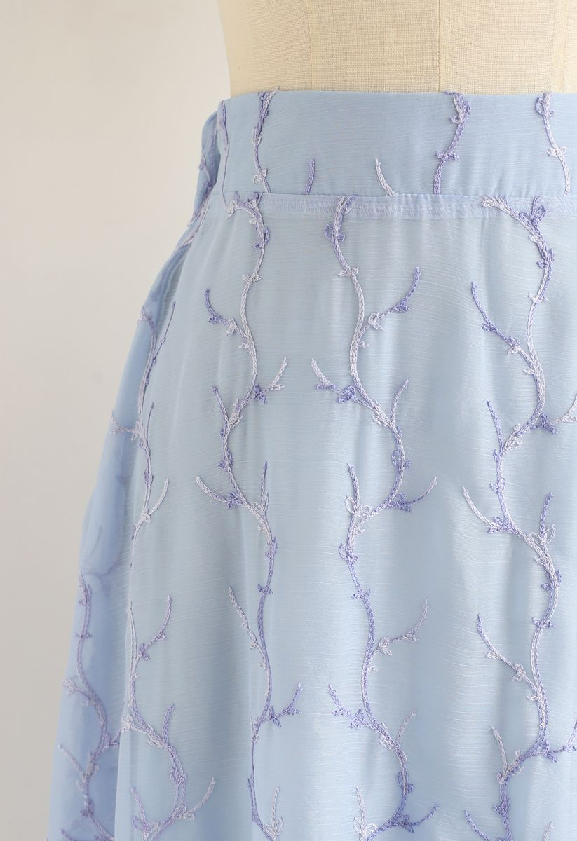 Embroidered Branches Sheer A-Line Midi Skirt