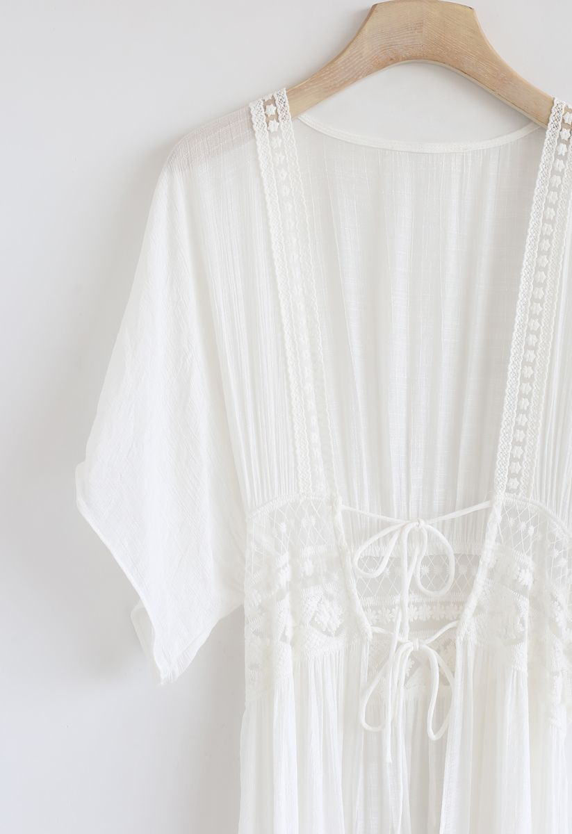 Crochet Trims Semi-Sheer Longline Kimono