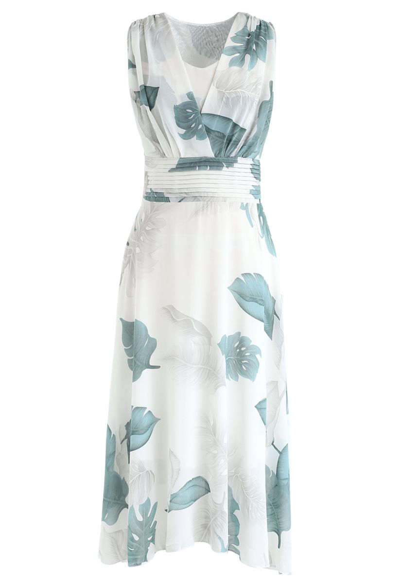 Green Tropical Leaf Pleated Sleeveless Chiffon Dress