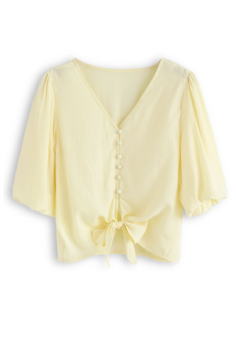 Sweet and Sound Bowknot Crop Top in Yellow