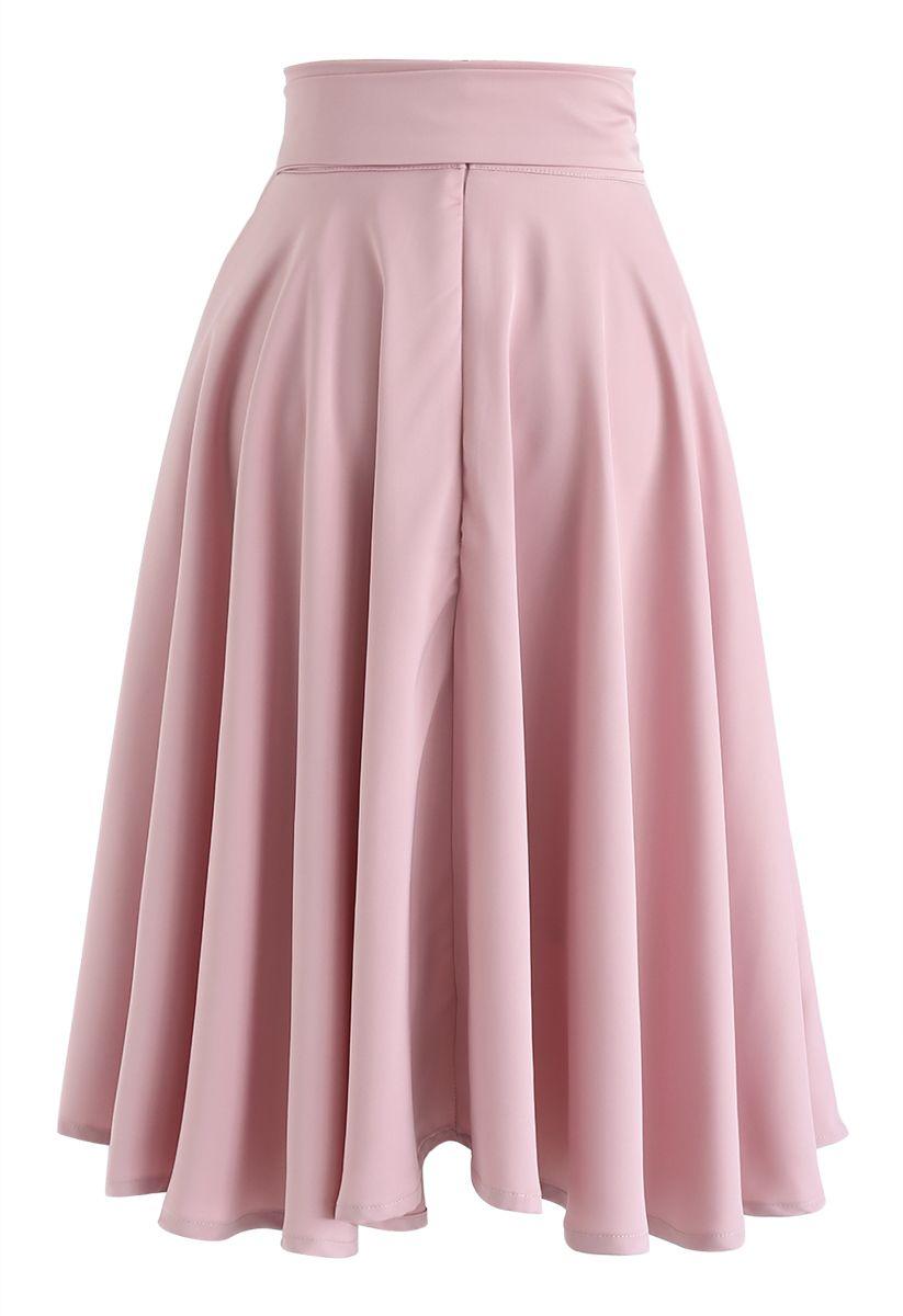Flare Hem Bowknot Waist Midi Skirt in Pink