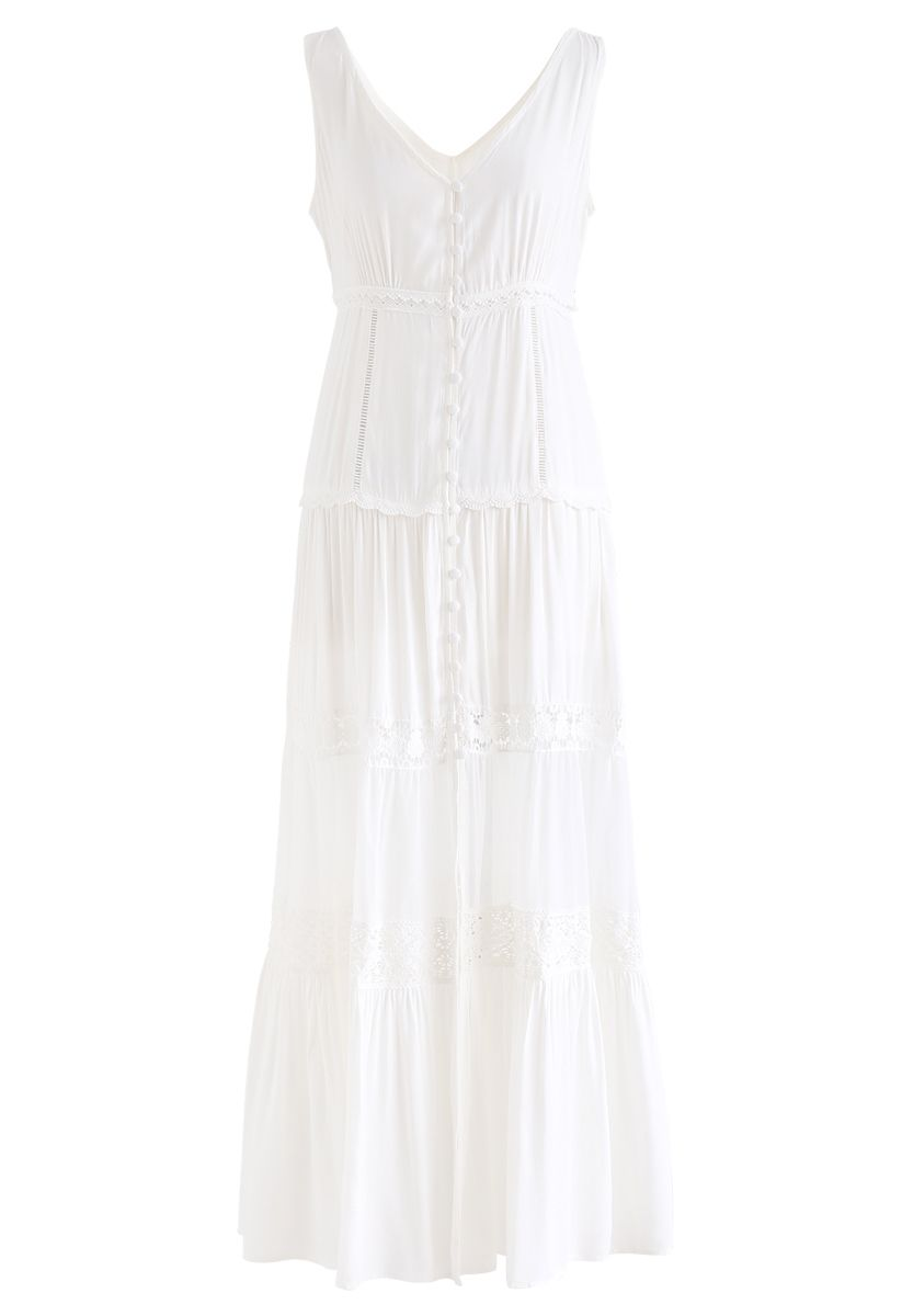 Crochet Trims Panelled Button Down Sleeveless Maxi Dress in White