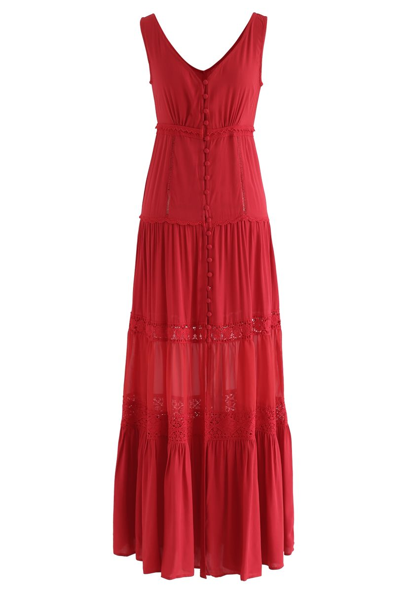 Crochet Trims Panelled Button Down Sleeveless Maxi Dress in Red