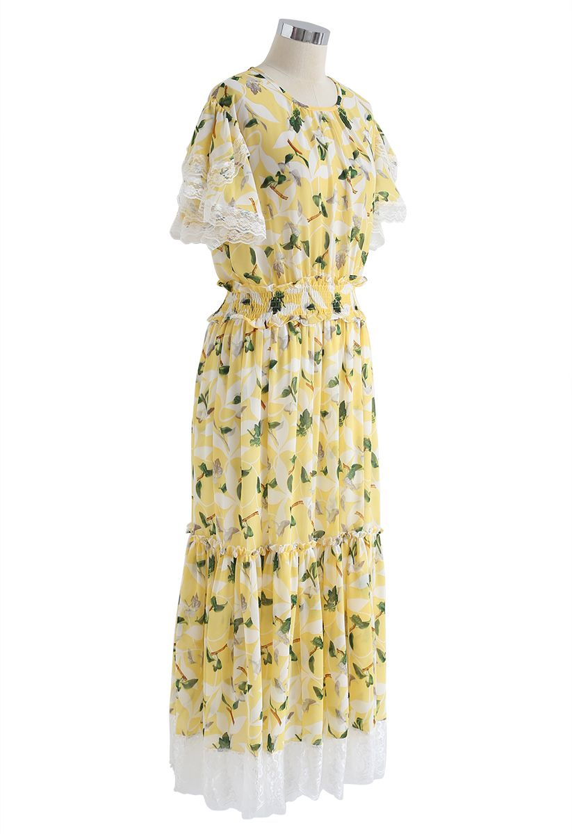 Lush Branches Frilling Chiffon Dress in Yellow