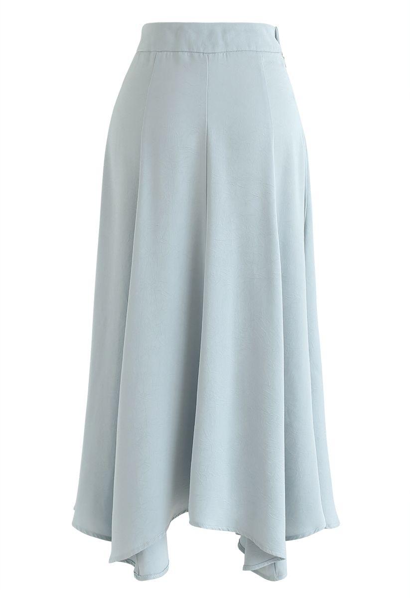 Silky Texture Asymmetric Midi Skirt in Mint