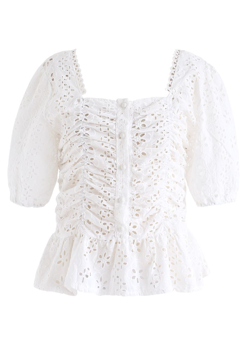 Square Neck Eyelet Buttoned Top in White
