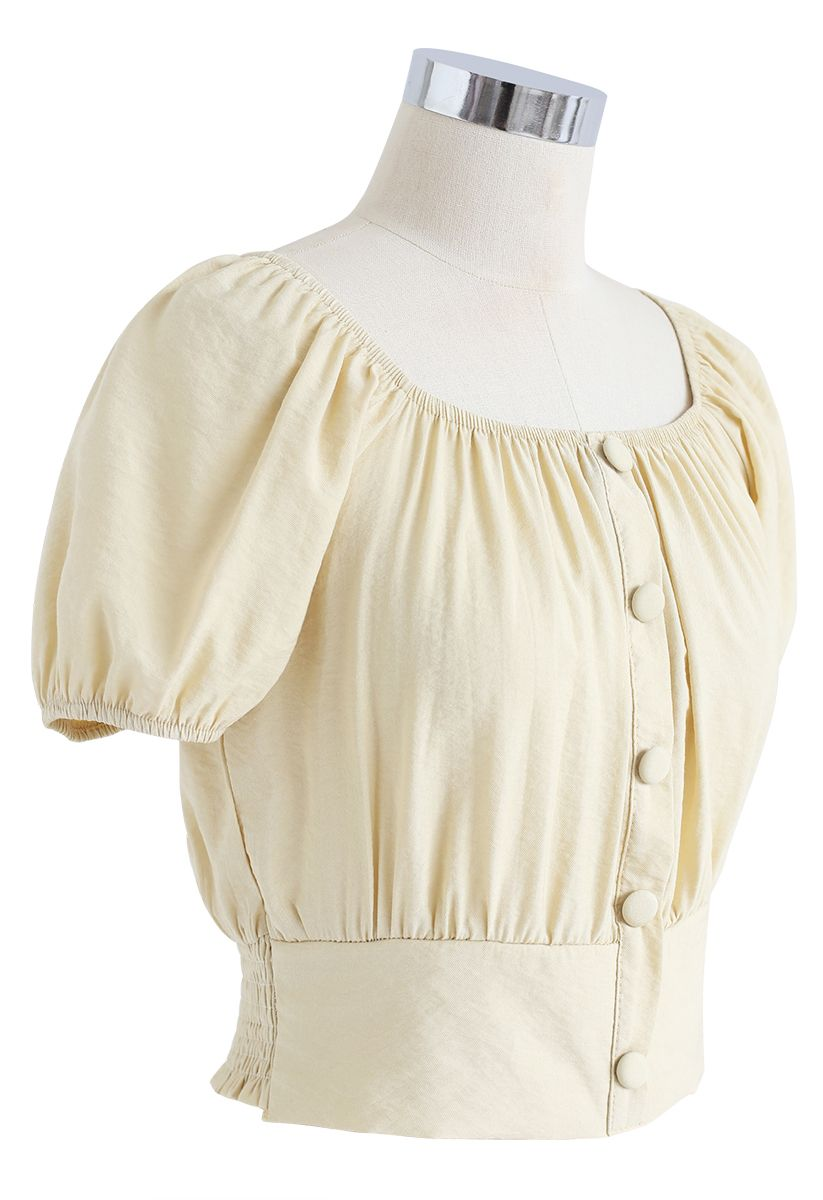 Square Neck Buttoned Front Cropped Top in Light Yellow