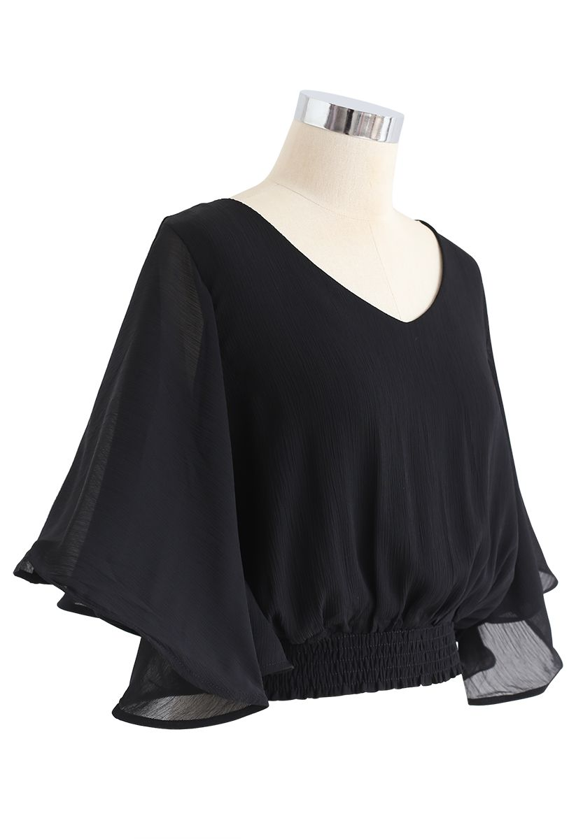 Butterfly Flare Sleeves V-Neck Crop Top in Black
