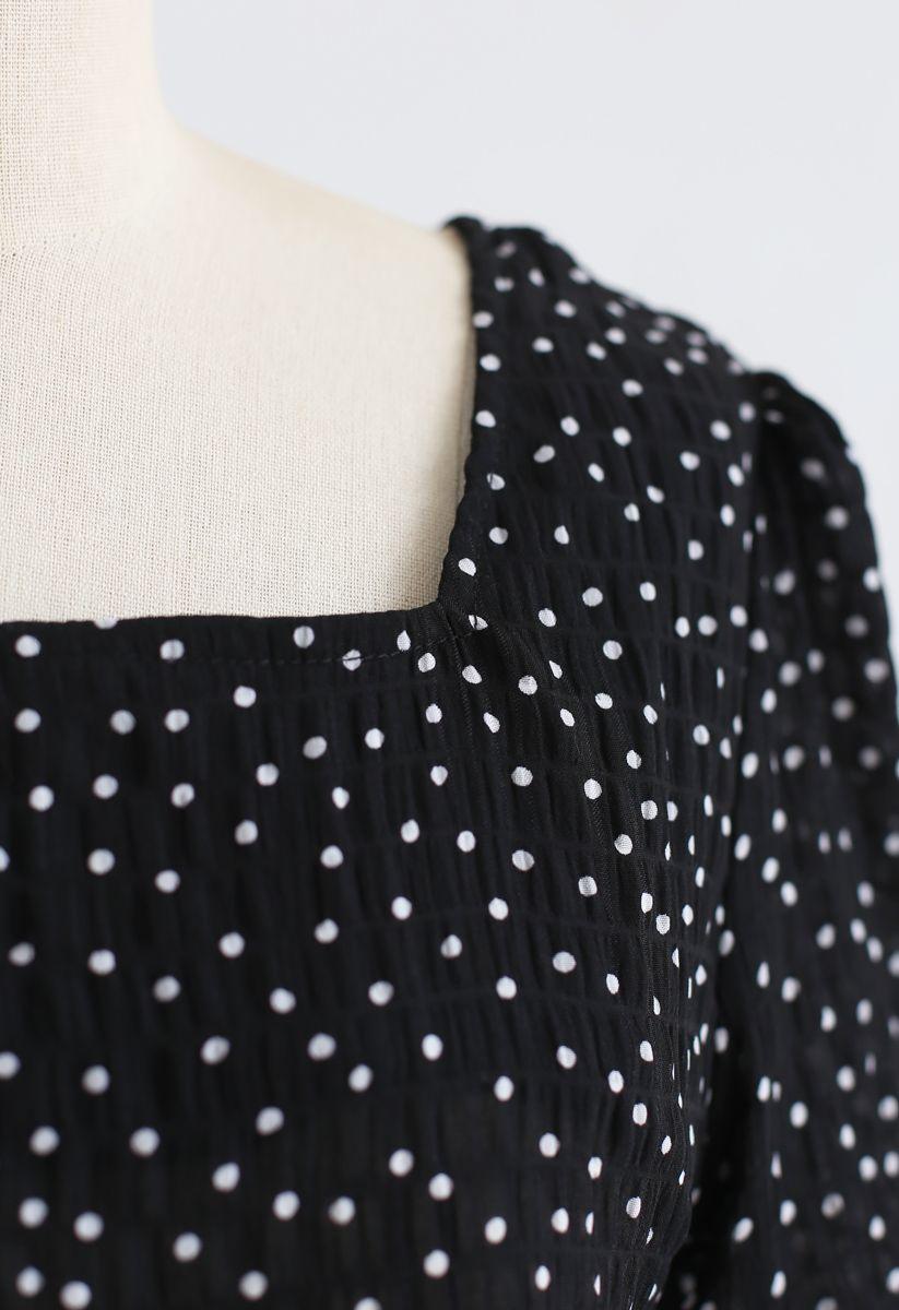 Peekaboo Bowknot Back Dots Shirred Top in Black
