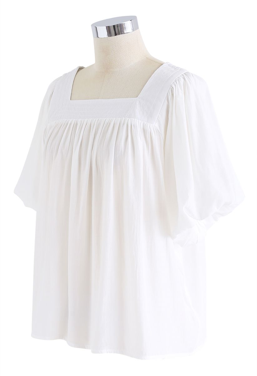 Square Neck Puff Sleeves Top in White