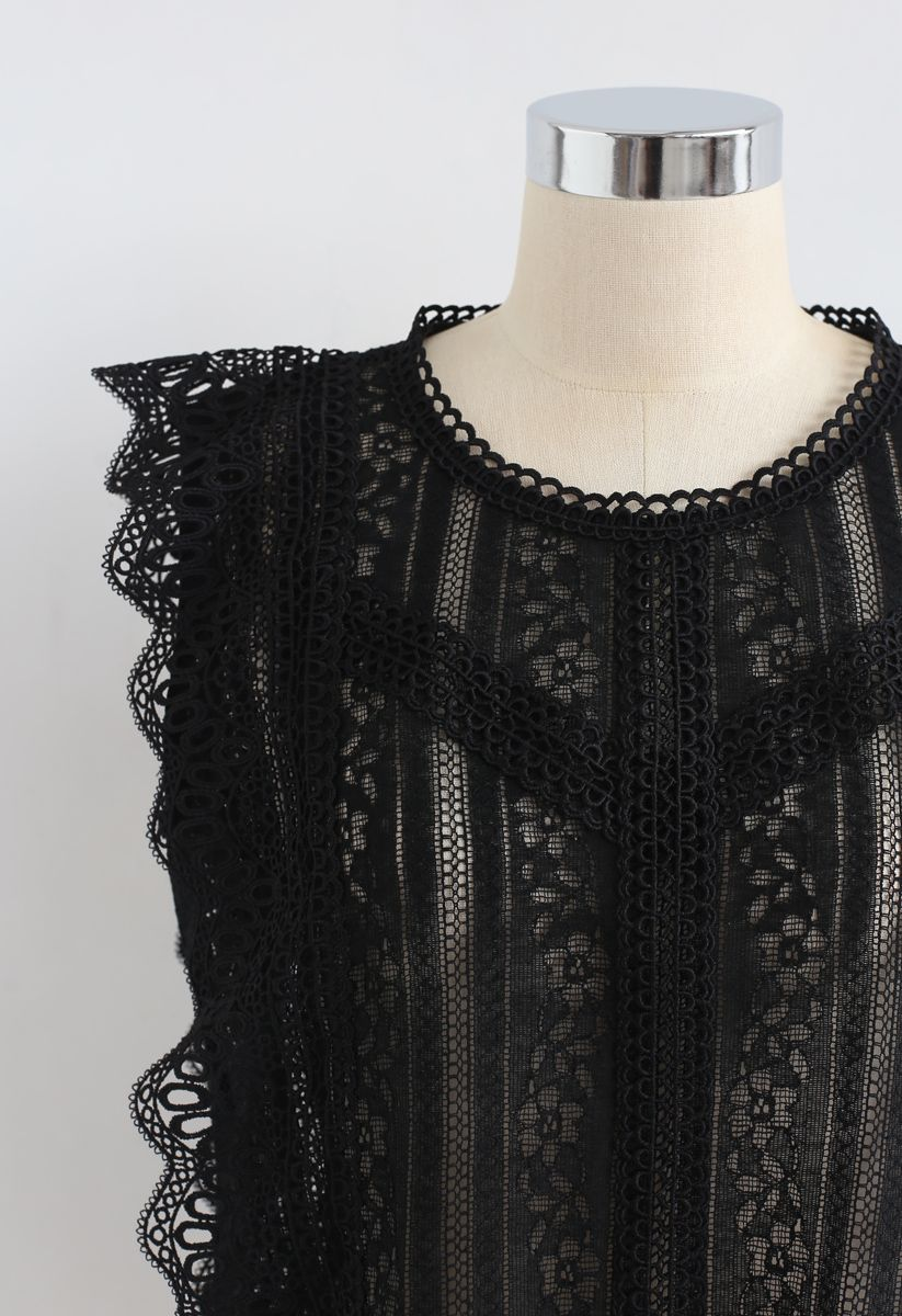 Crochet Trim Sleeveless Lace Top in Black