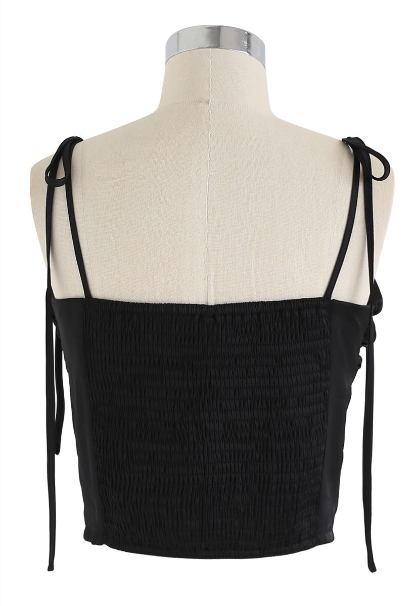 Shirred Sweet Knot Cropped Cami Top in Black