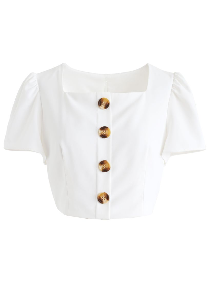 Square Neck Buttoned Cropped Top in White