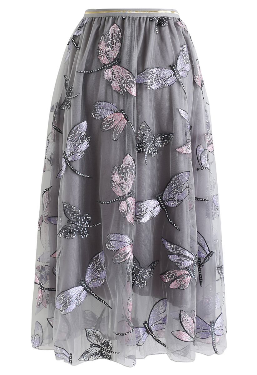 Sequin Dragonfly Embroidery Mesh Tulle Skirt in Grey