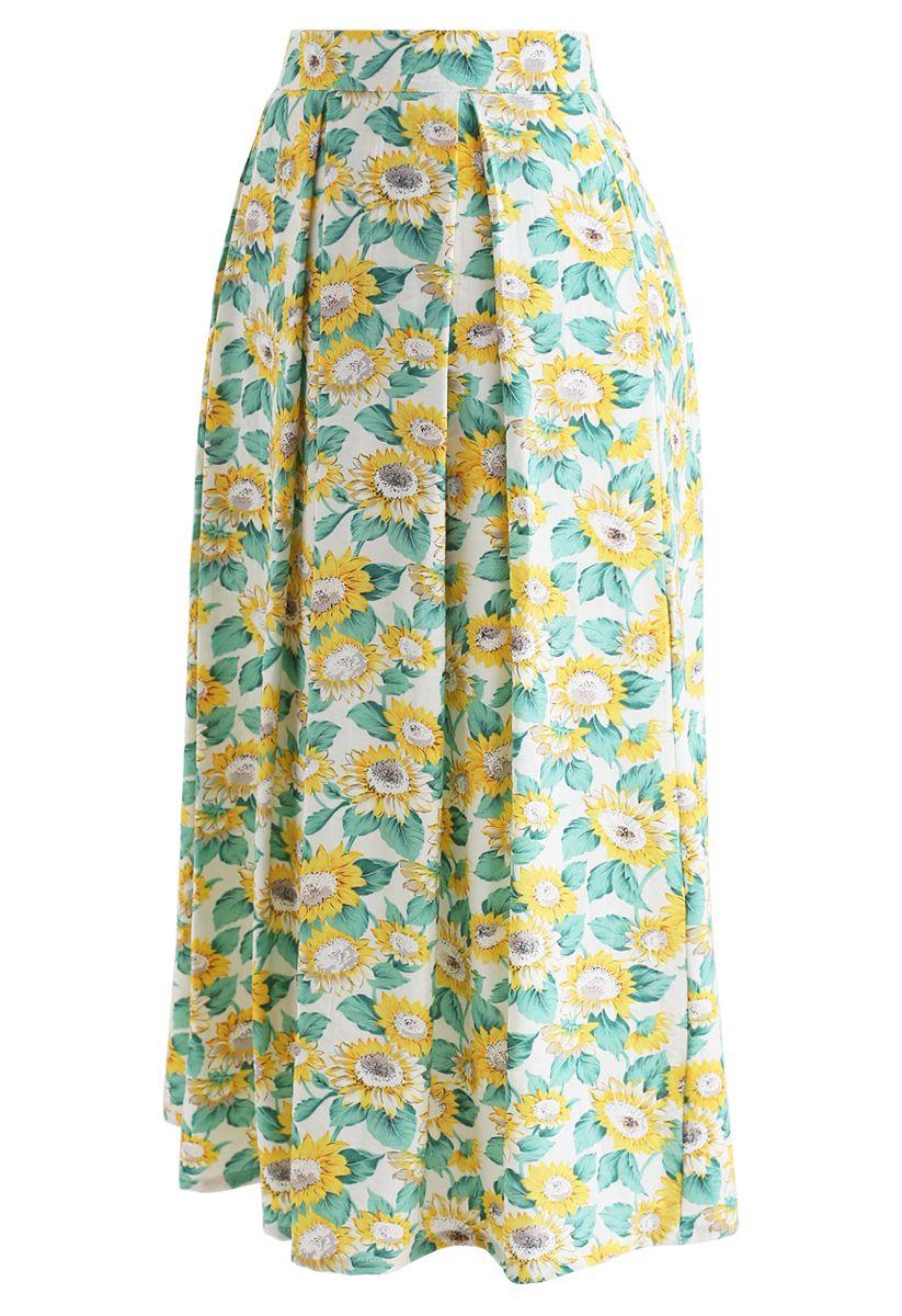 Sunflowers Print A-Line Midi Skirt