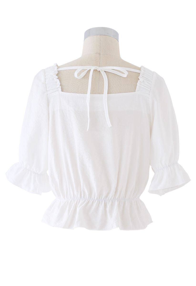 Button Embellished Square Neck Crop Top in White