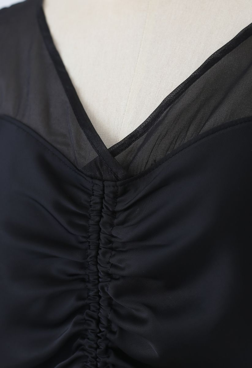 Organza Spliced Ruched Top in Black