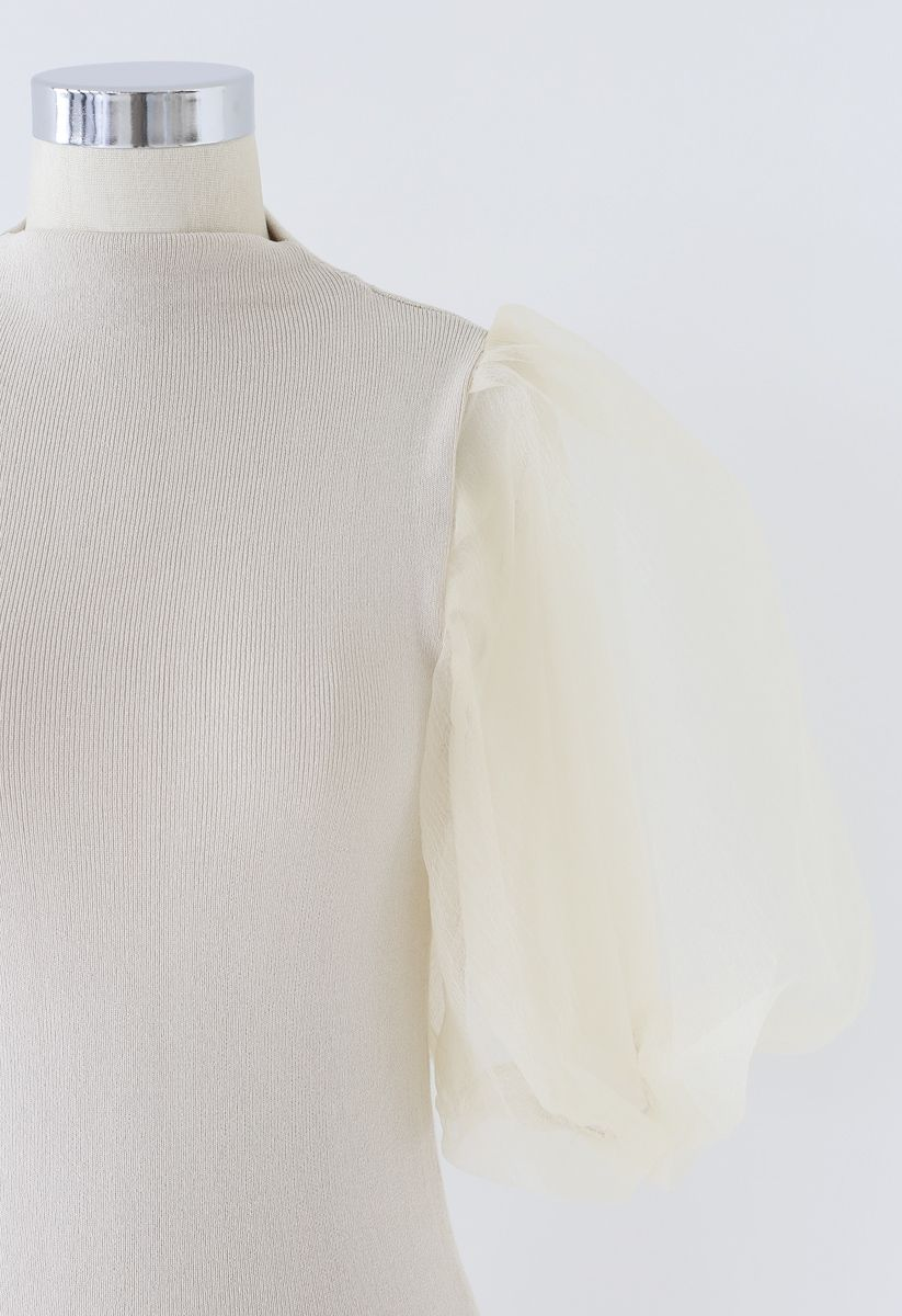 Fitted Organza Bubble Sleeves Knit Top in Cream
