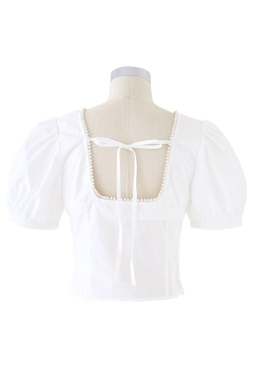 Pearl Trim Square Neck Puff Sleeves Top in White