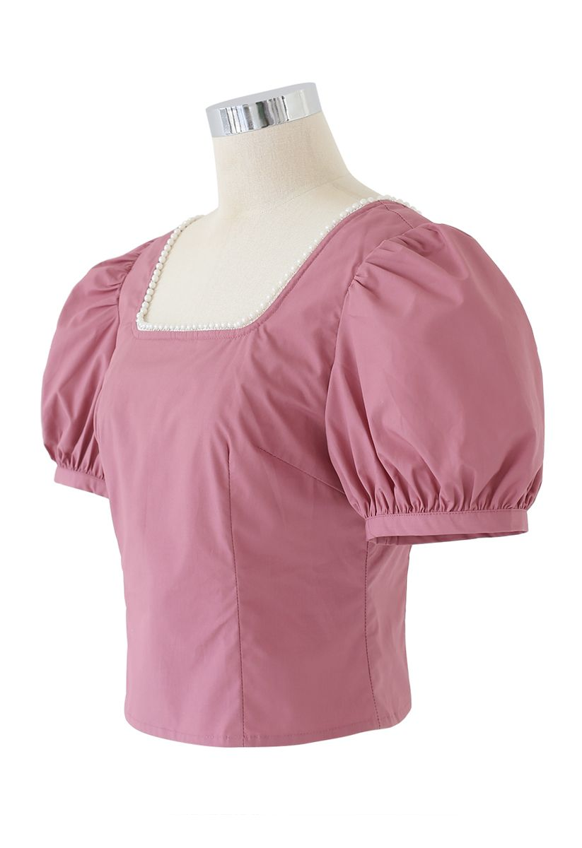 Pearl Trim Square Neck Puff Sleeves Top in Coral