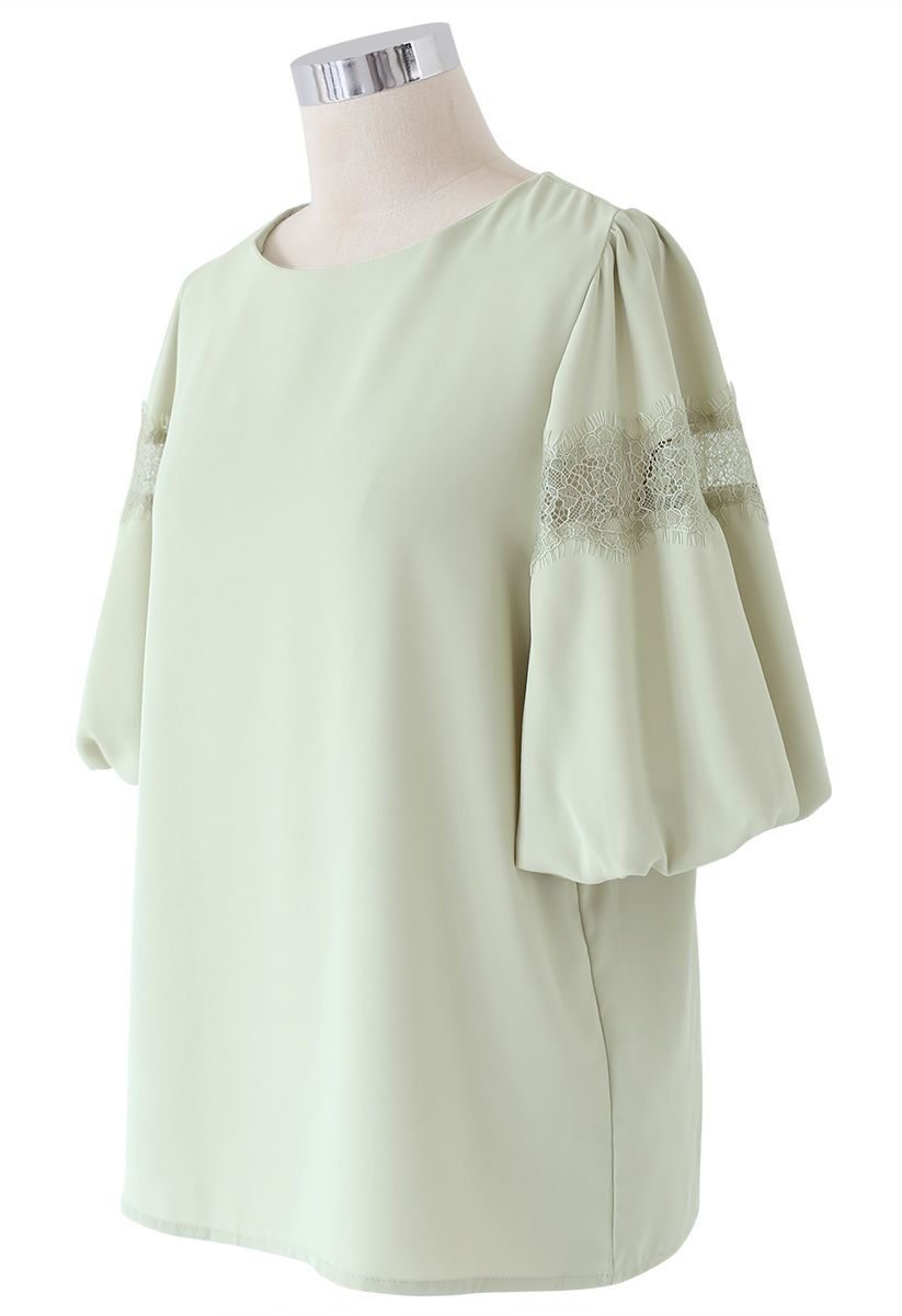 Lace Trim Bubble Sleeves Top in Pea Green