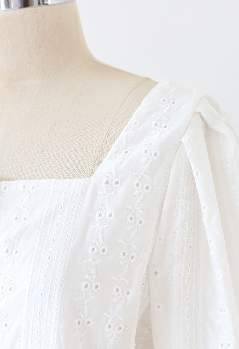 Square Neck Button Down Embroidery Top