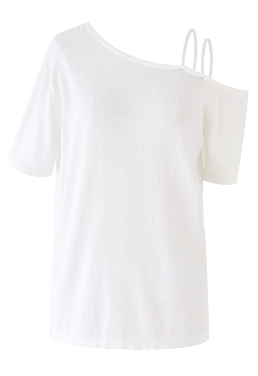 Cold-Shoulder Short-Sleeve Knit Top in White