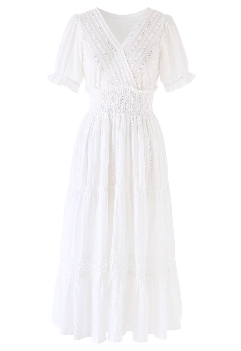 Embroidery Eyelet Shirred Frill Boho Dress in White