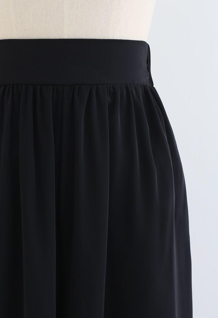 Flowy Satin Flare Leg Pockets Pants in Black