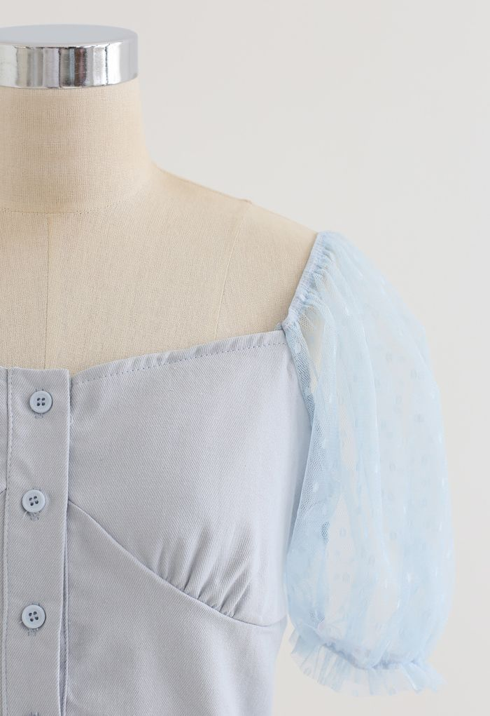Lace Sleeves Spliced Button Down Crop Top in Dusty Blue