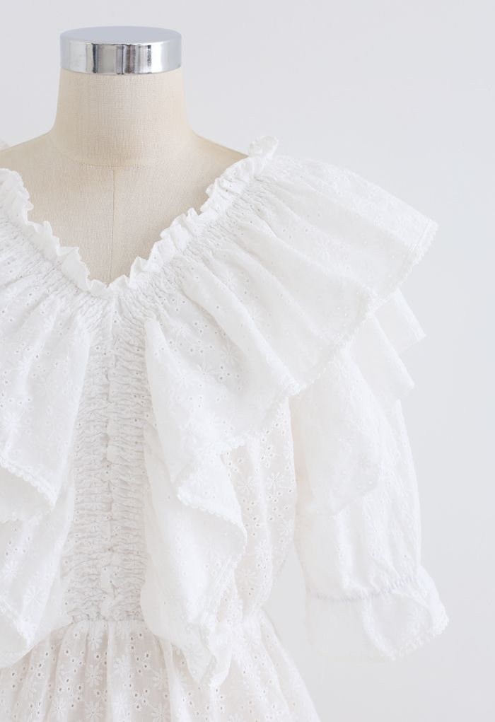 Floral Embroidery Ruffle Peplum Top